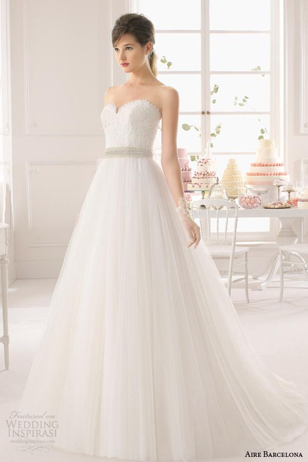 aire barcelona bridal 2015 astra muito wedidng strapless vestido de decote