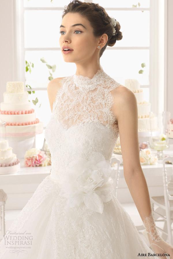 aire barcelona bridal 2015 strapless azurita casamento da princesa vestido sem mangas gola alta rendas topo