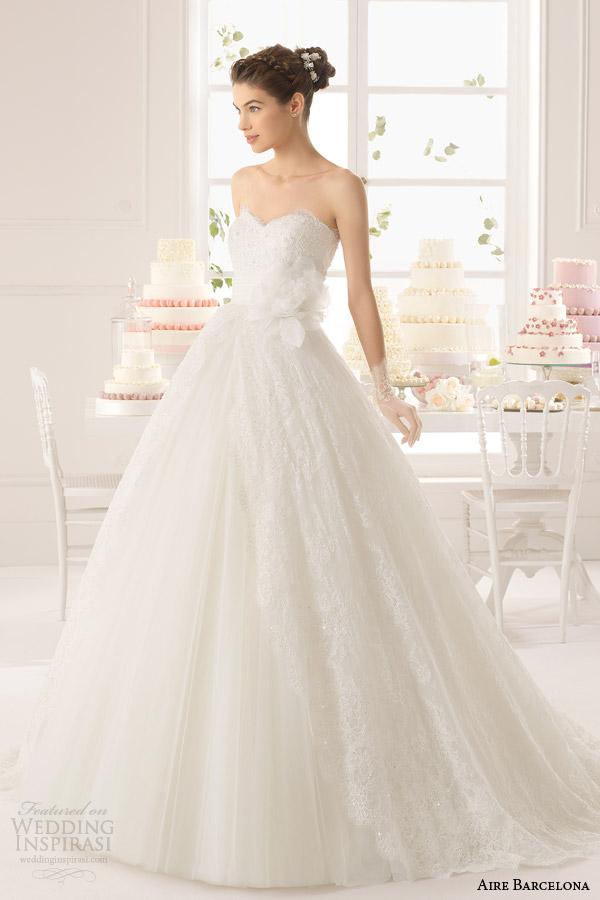 aire barcelona bridal 2015 strapless azurita vestido de casamento da princesa