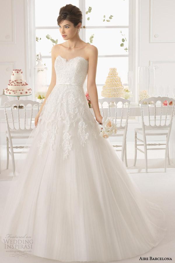 aire barcelona bridal 2015 strapless vestido de noiva de azaléia