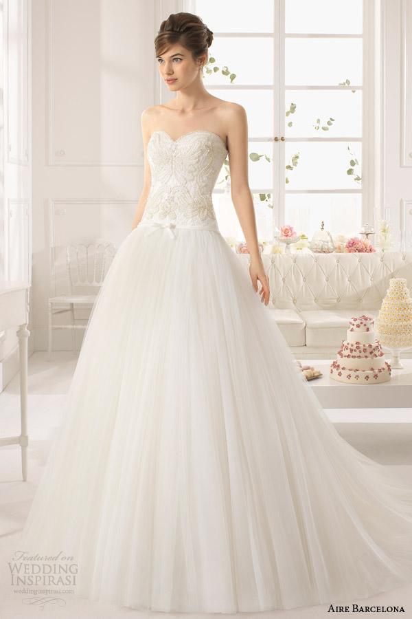 2015 ATREZZO cintura queda vestido de baile sem alças aire barcelona vestidos de noiva