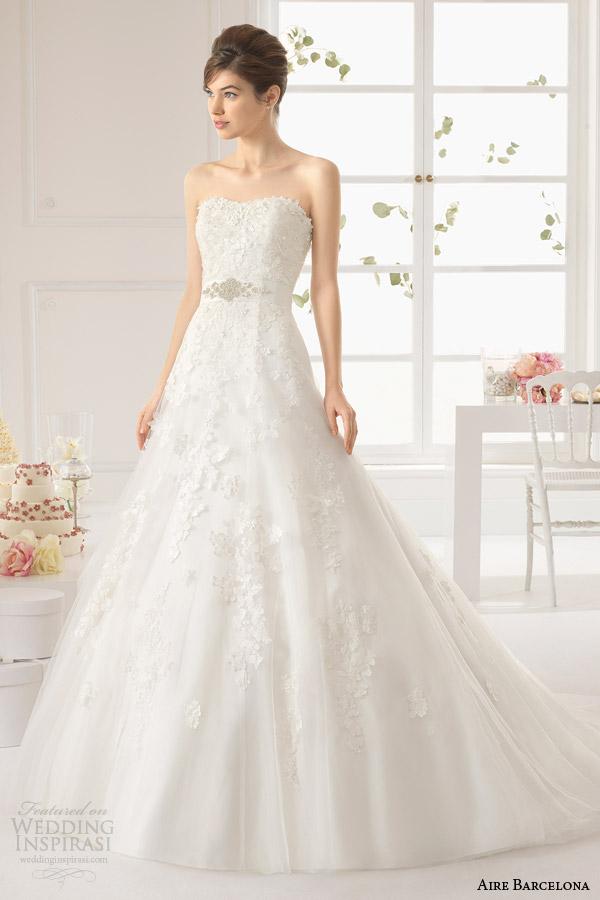 aire barcelona vestidos de noiva 2015 aura cristal vestido strapless faixa