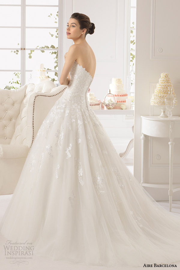 2015 Aydin vestido de baile sem alças aire barcelona vestidos de noiva