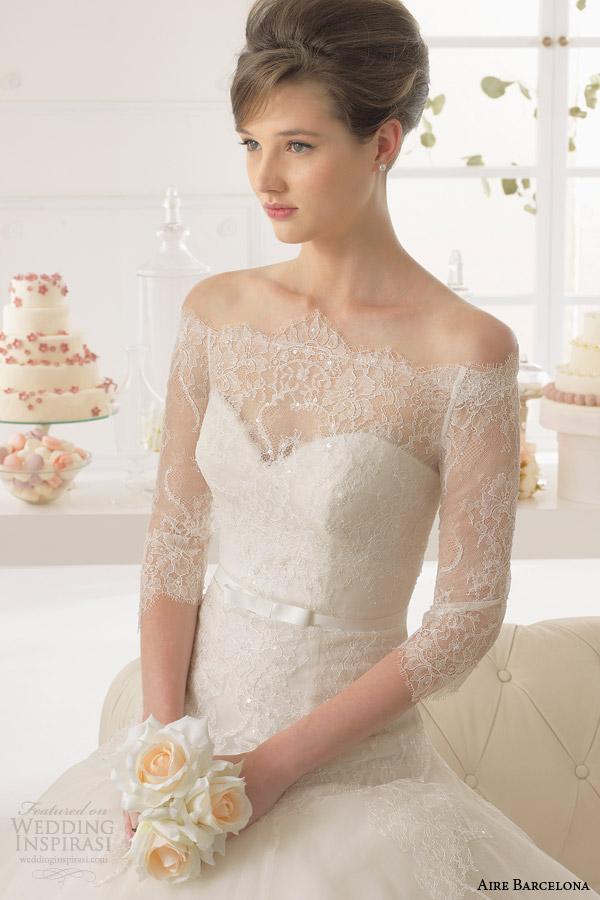 aire barcelona vestidos de noiva 2015 azorin strapless vestido off mangas do casaco shouder rendas