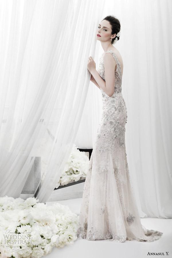 annasul y 2015 bridal sleeveless heavily embellished sheath wedding dress ay2984e