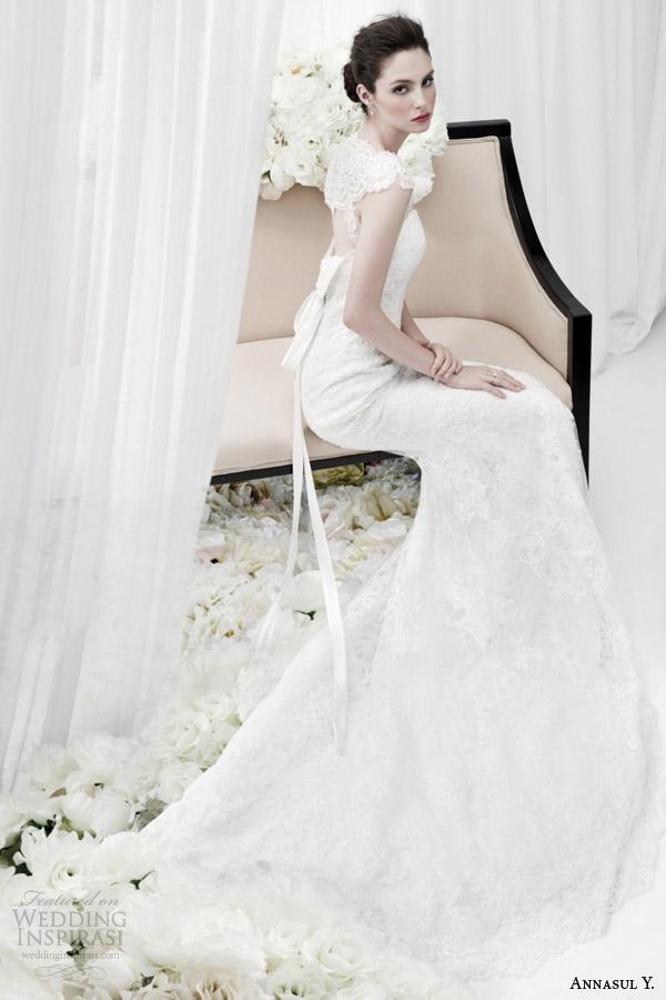 annasul y bridal 2015 cap sleeve lace sheath wedding dress side view ay2872b