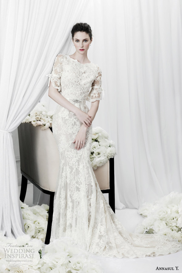 Annasul Y Bridal 2017 Lace Sheath Wedding Dress Half Sleeves