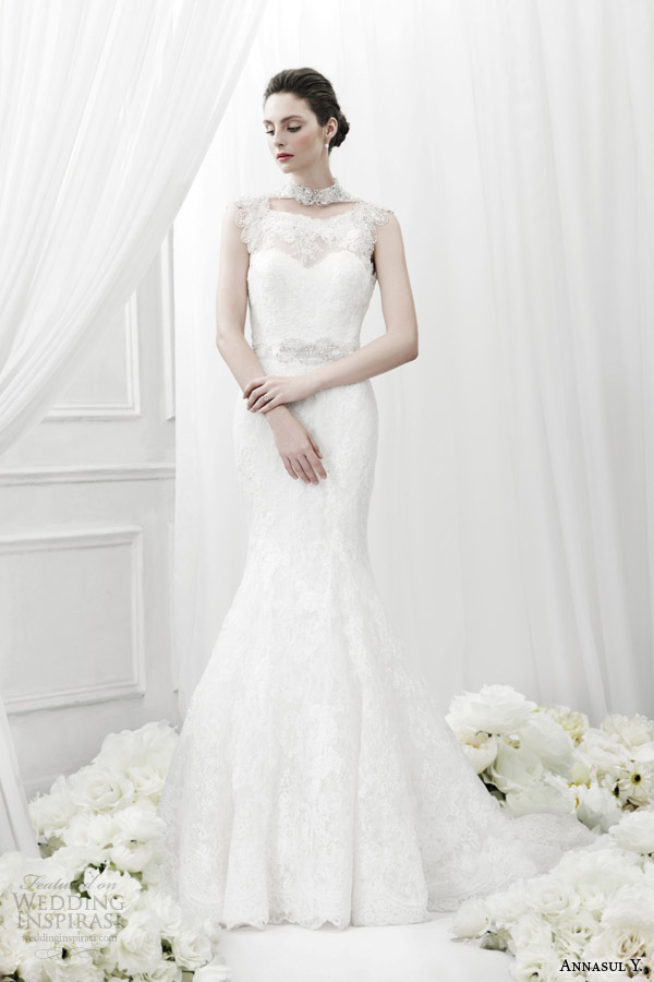 annasul y bridal 2015 lace sheath wedding dress jeweled neckline ay2884b