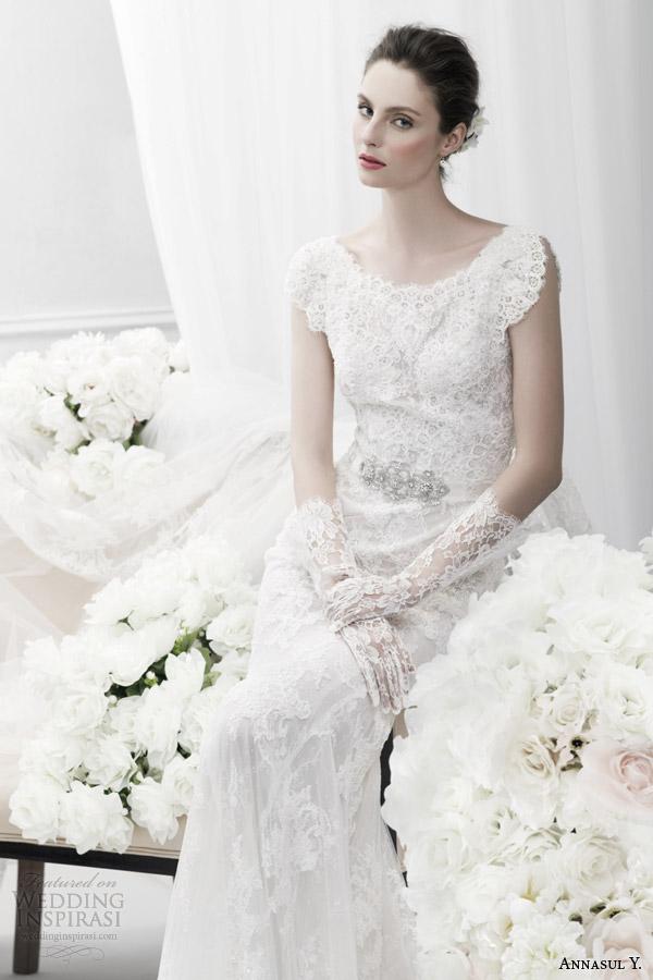 annasul y bridal 2015 lace wedding dress split cap sleeves ay2990b