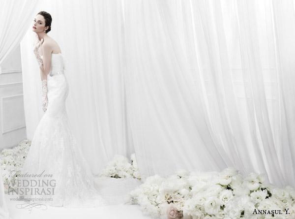 annasul y bridal 2015 strapless lace sheath wedding dress ay2835b