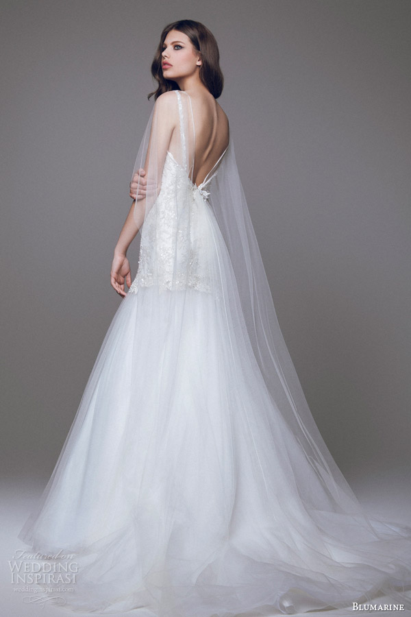 blumarine 2015 bridal wedding dress sheer cape overlay back view