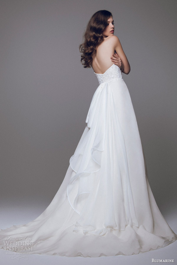 blumarine bridal 2015 strapless wedding dress beaded bodice back view train