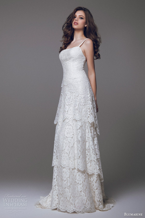 blumarine bridal 2015 tiered lace wedding dress with straps