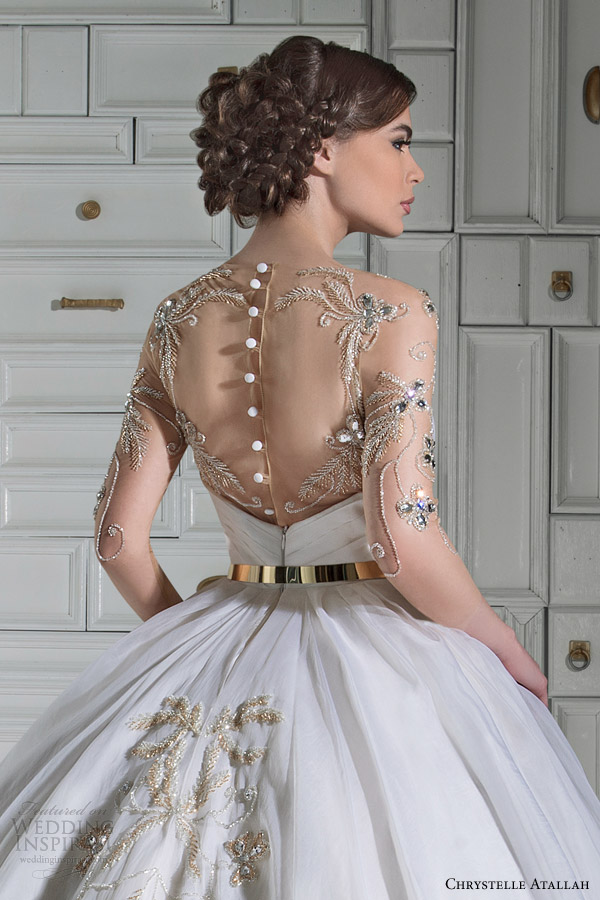chrystelle atallah bridal spring 2014 ball gown wedding dress illusion sleeves overskirt back view close up