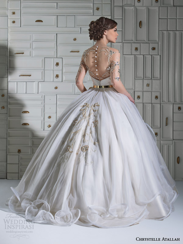 chrystelle atallah bridal spring 2014 ball gown wedding dress illusion sleeves overskirt back view