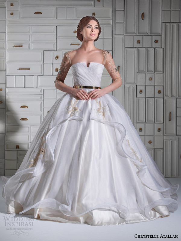 chrystelle atallah bridal spring 2014 ball gown wedding dress illusion sleeves overskirt