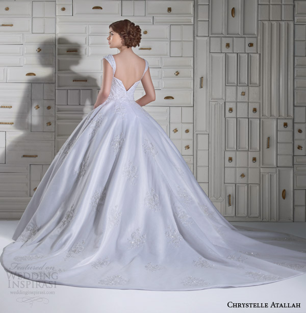 chrystelle atallah bridal spring 2014 ball gown wedding dress with straps back view
