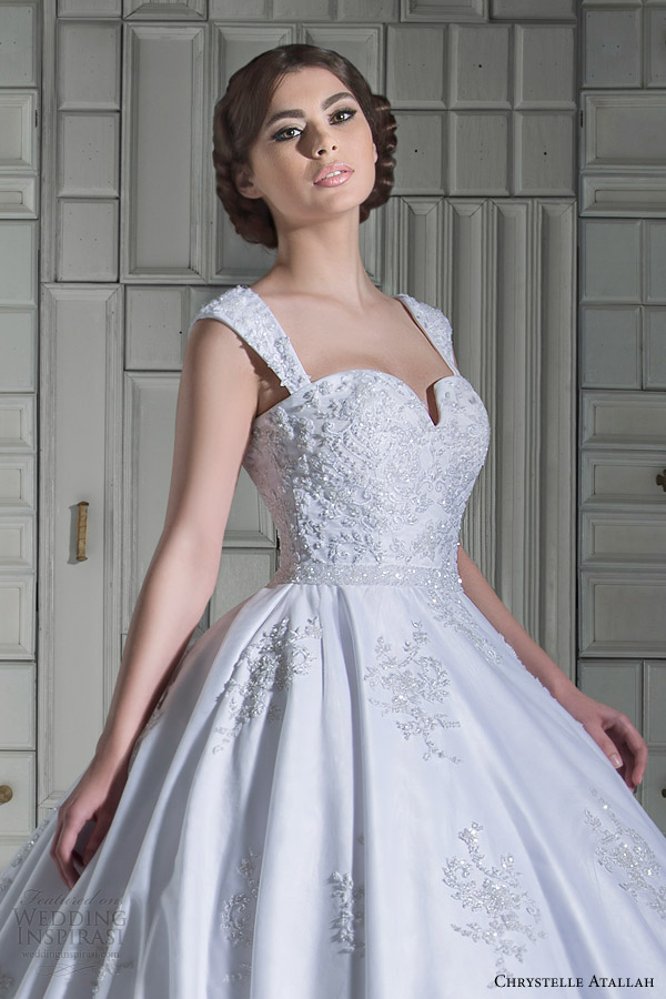 chrystelle atallah bridal spring 2014 ball gown wedding dress with straps close up