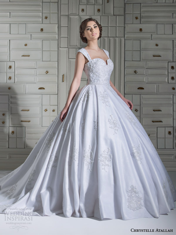 chrystelle atallah bridal spring 2014 ball gown wedding dress with straps