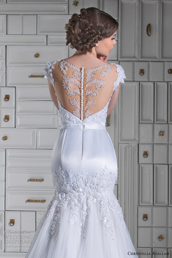 chrystelle atallah bridal spring 2014 cap sleeve mermaid wedidng dress illusion neckline back view close up