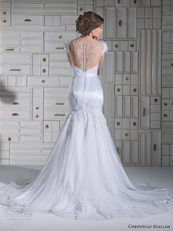 chrystelle atallah bridal spring 2014 cap sleeve mermaid wedidng dress illusion neckline back view