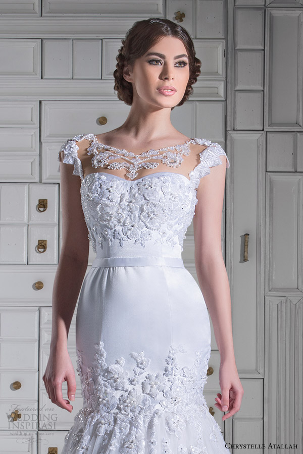 chrystelle atallah bridal spring 2014 cap sleeve mermaid wedidng dress illusion neckline close up