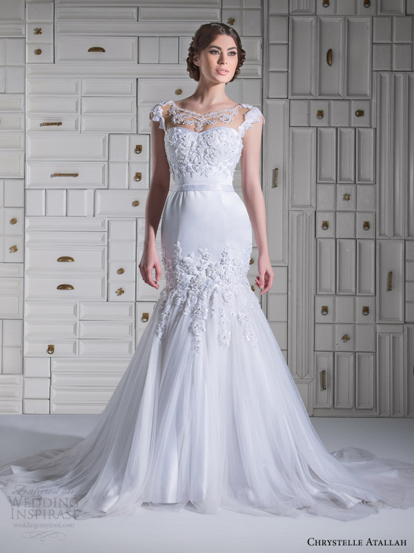 chrystelle atallah bridal spring 2014 cap sleeve mermaid wedidng dress illusion neckline