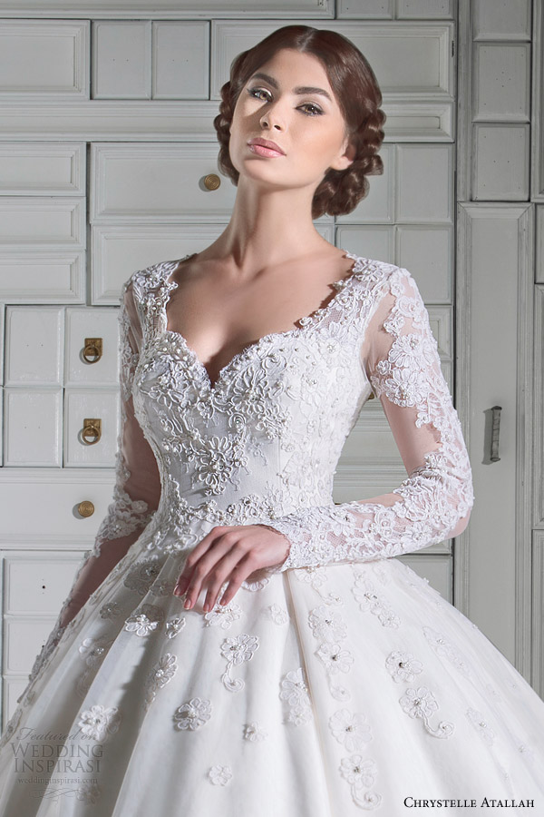 chrystelle atallah bridal spring 2014 long sleeve ball gown wedding dress close up