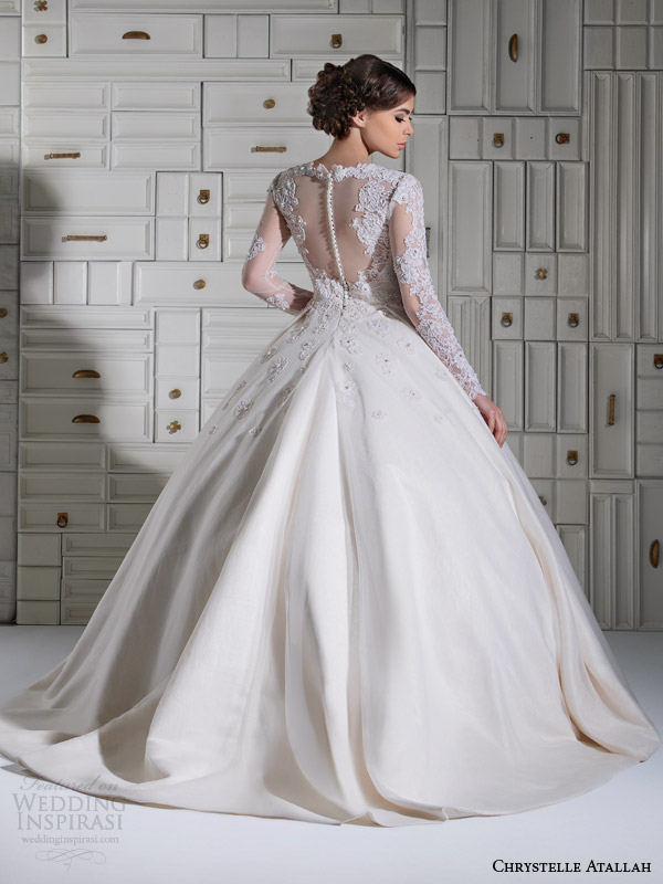 chrystelle atallah bridal spring 2014 long sleeve ball gown wedding dress illusion back view