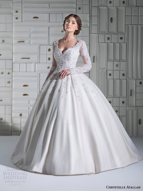 chrystelle atallah bridal spring 2014 long sleeve ball gown wedding dress