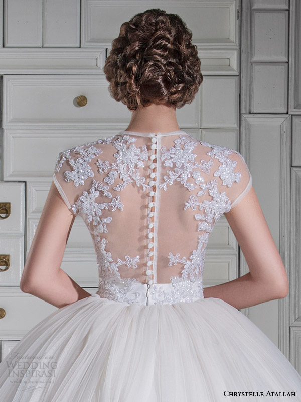 chrystelle atallah spring 2014 illusion cap sleeve princess ball gown wedding dress back view close up
