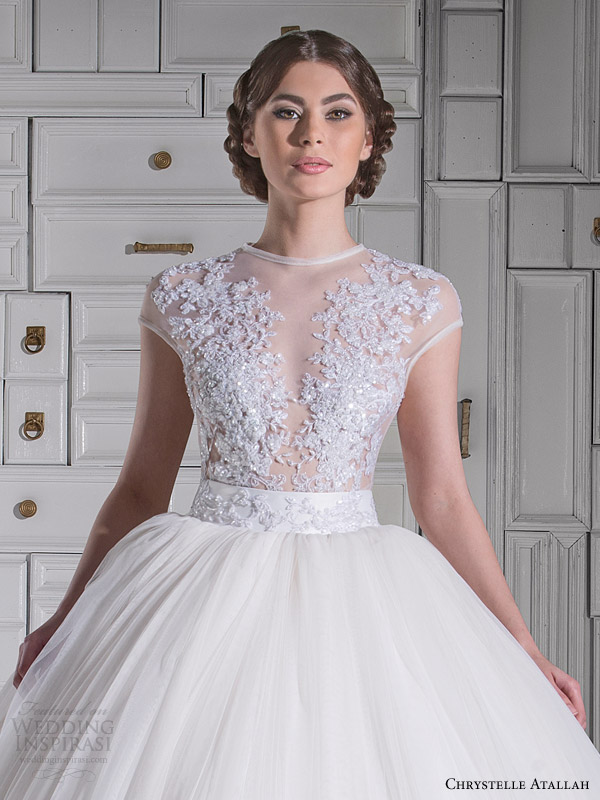 chrystelle atallah spring 2014 illusion cap sleeve princess ball gown wedding dress close up