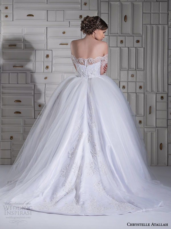 chrystelle atallah wedding dresses spring 2014 ball gown off shoulder short sleeves back view