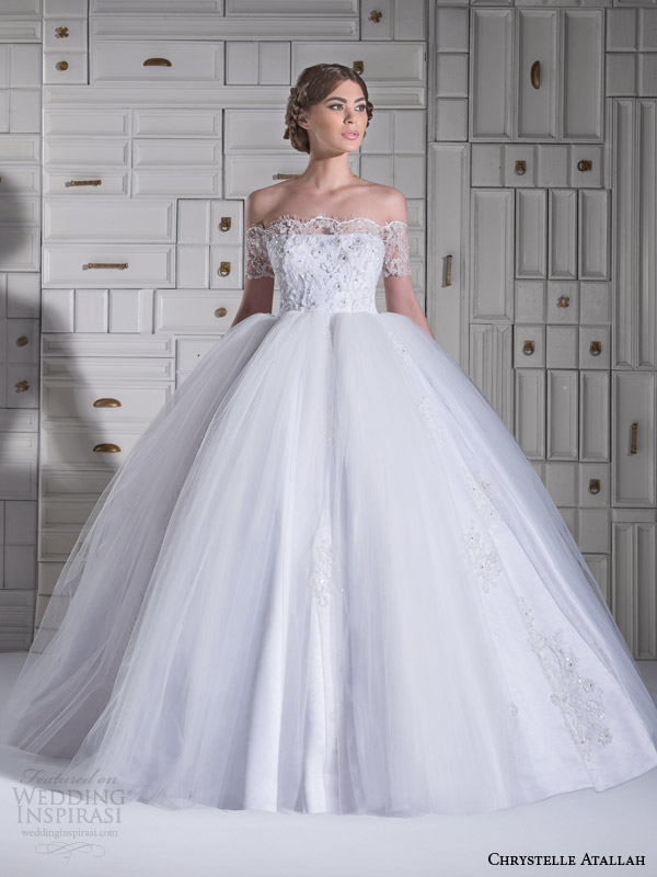chrystelle atallah wedding dresses spring 2014 ball gown off shoulder short sleeves