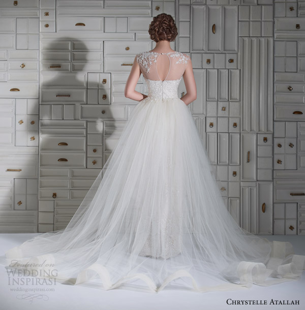 chrystelle atallah wedding dresses spring 2014 illusion cap sleeve wedding dress tulle overlay skirt back view