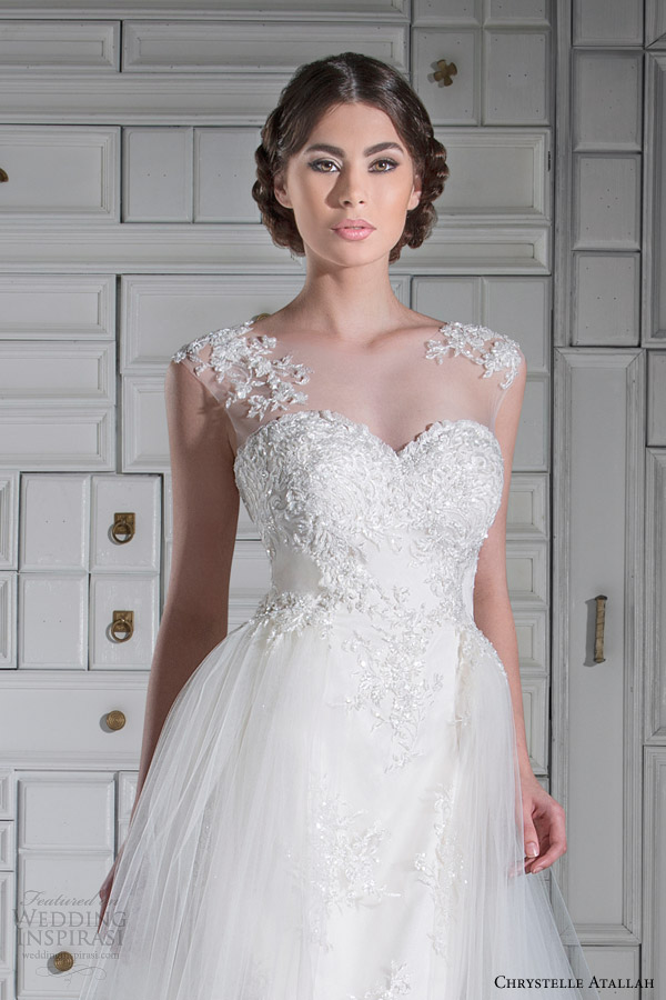chrystelle atallah wedding dresses spring 2014 illusion cap sleeve wedding dress tulle overlay skirt close up