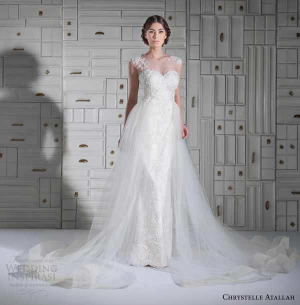 chrystelle atallah wedding dresses spring 2014 illusion cap sleeve wedding dress tulle overlay skirt