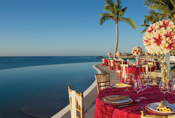 destination weddings secrets marquis los cabos elegant wedding reception infinity pool
