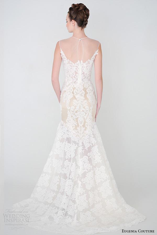 eugenia costura primavera nupcial 2015 Coleção Enorme decote SEM mangas Rendas a eva Linha de Vestido de noiva bainha 3924