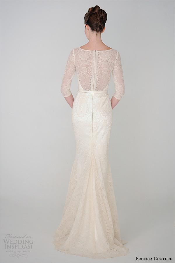 eugenia couture spring 2015 collection three quarter sleeve scoop neckline sheath wedding dress anastasia 3929 back