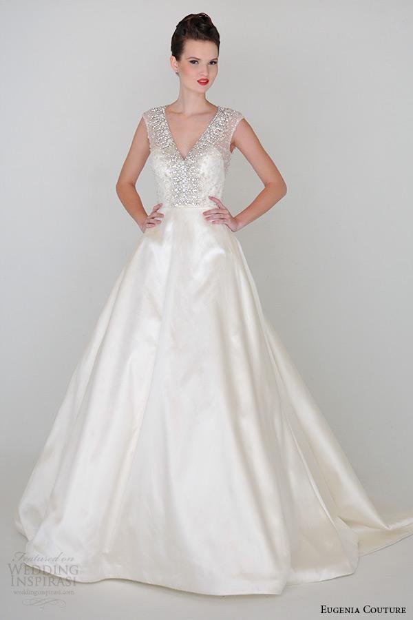eugenia couture spring 2015 collection v neck low back a line wedding dress alexandra 3934
