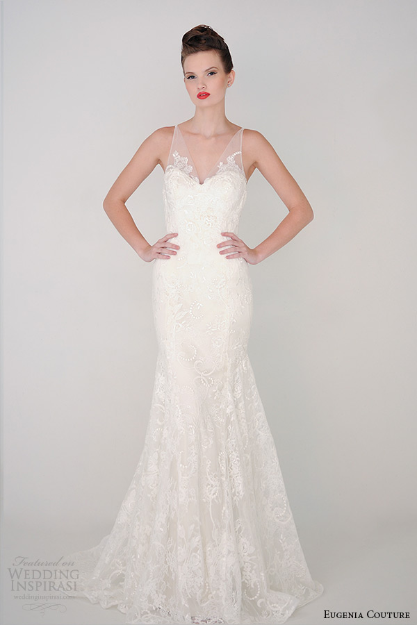 eugenia couture spring 2015 collection v neck sheer strap sheath wedding dress aria 3926