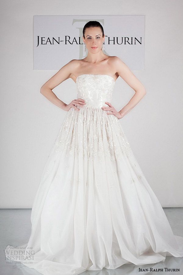 jean ralph thurin bridal spring 2015 jocelyn strapless ball gown wedding dress