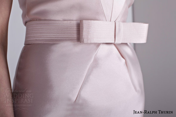 jean ralph thurin bridal spring 2015 johanna short sleeve blush colored wedding dress bow detail