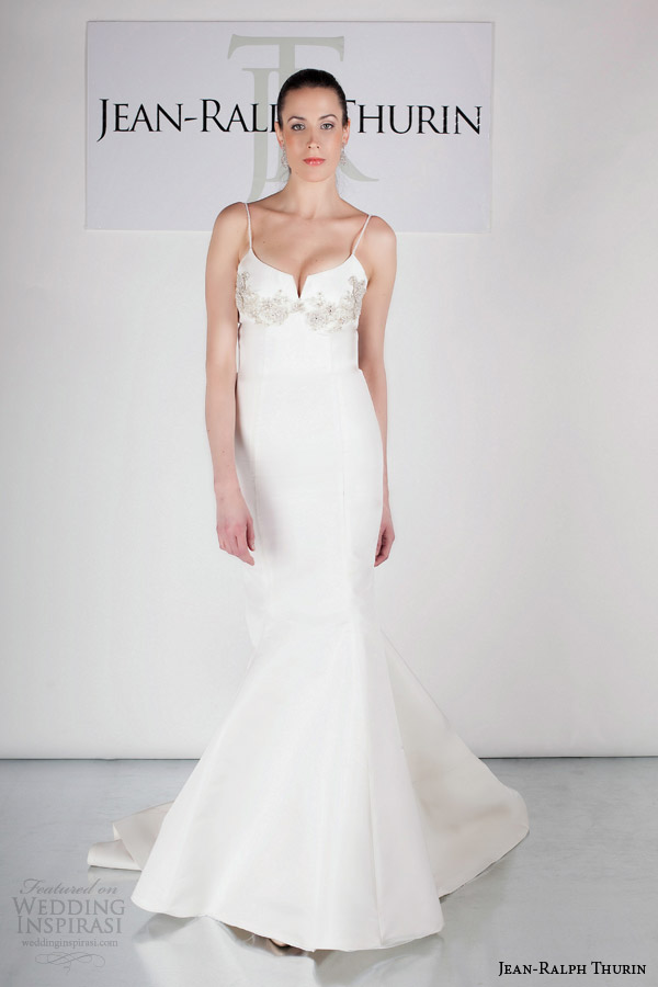 jean ralph thurin bridal spring 2015 jovia mermaid wedding dress straps