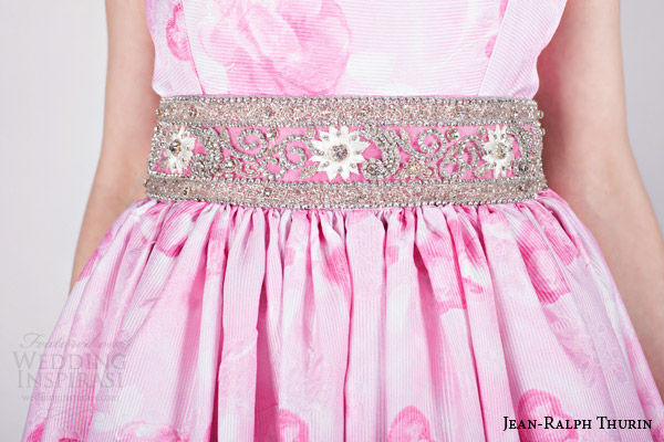 jean ralph thurin bridal spring 2015 katouchka sleeveless print colored pink sleeveless wedding dress crystal belt detail