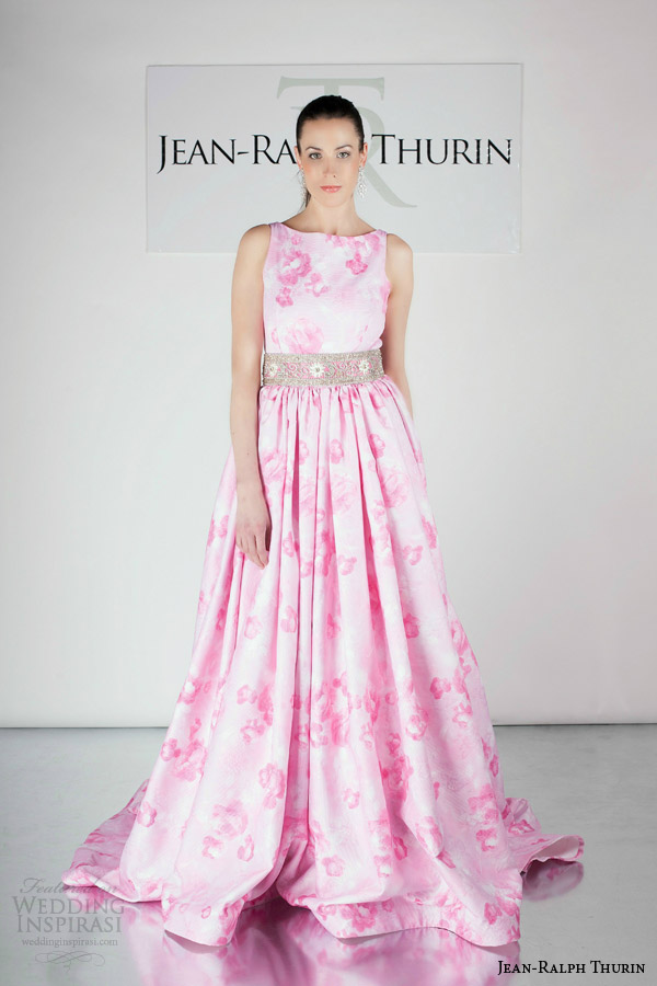 jean ralph thurin bridal spring 2015 katouchka sleeveless print colored pink sleeveless wedding dress