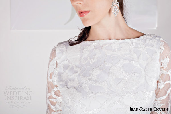 jean ralph thurin bridal spring 2015 ralfie long sleeve wedding dress bateau neckline bodice detail