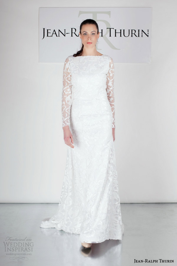 jean ralph thurin bridal spring 2015 ralfie long sleeve wedding dress bateau neckline