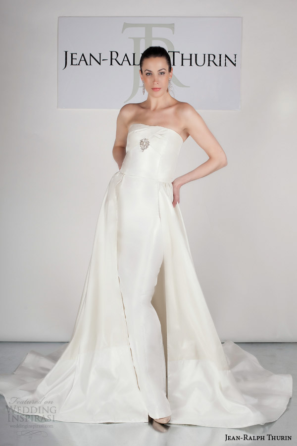 jean ralph thurin bridal spring 2015 ranae strapless column wedding dress overskirt